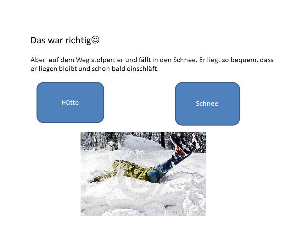 Das war richtig Aber auf dem Weg stolpert er und fällt in den Schnee.