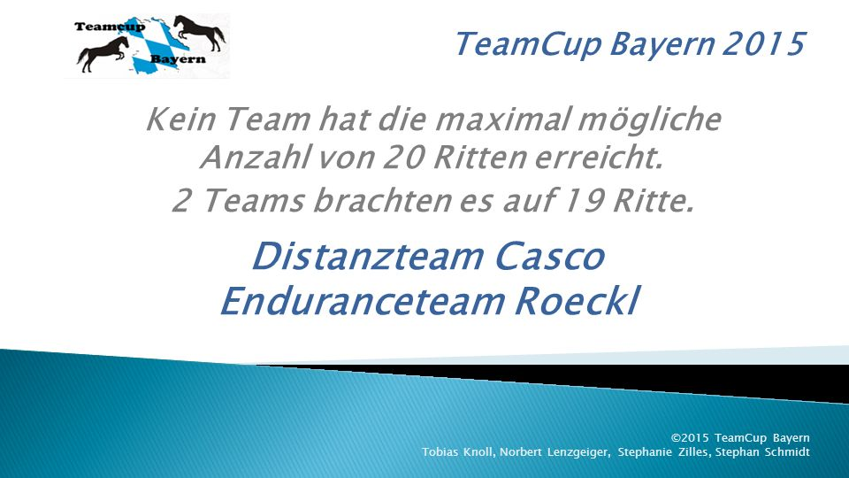 TeamCup Bayern 2015 ©2015 TeamCup Bayern Tobias Knoll, Norbert Lenzgeiger, Stephanie Zilles, Stephan Schmidt 9.