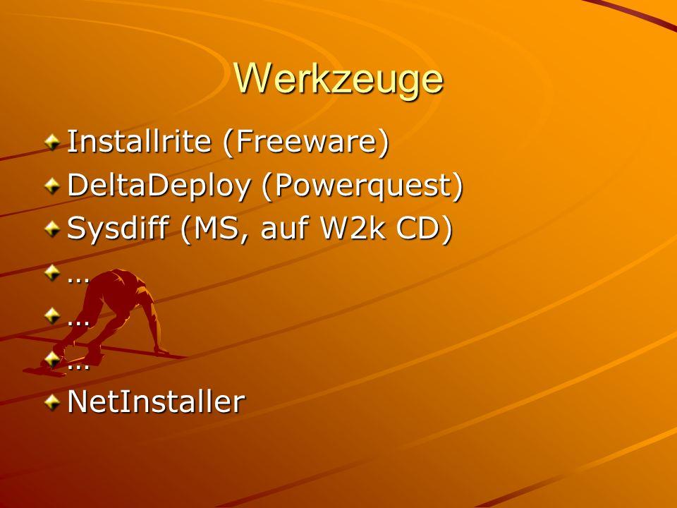Werkzeuge Installrite (Freeware) DeltaDeploy (Powerquest) Sysdiff (MS, auf W2k CD) ………NetInstaller