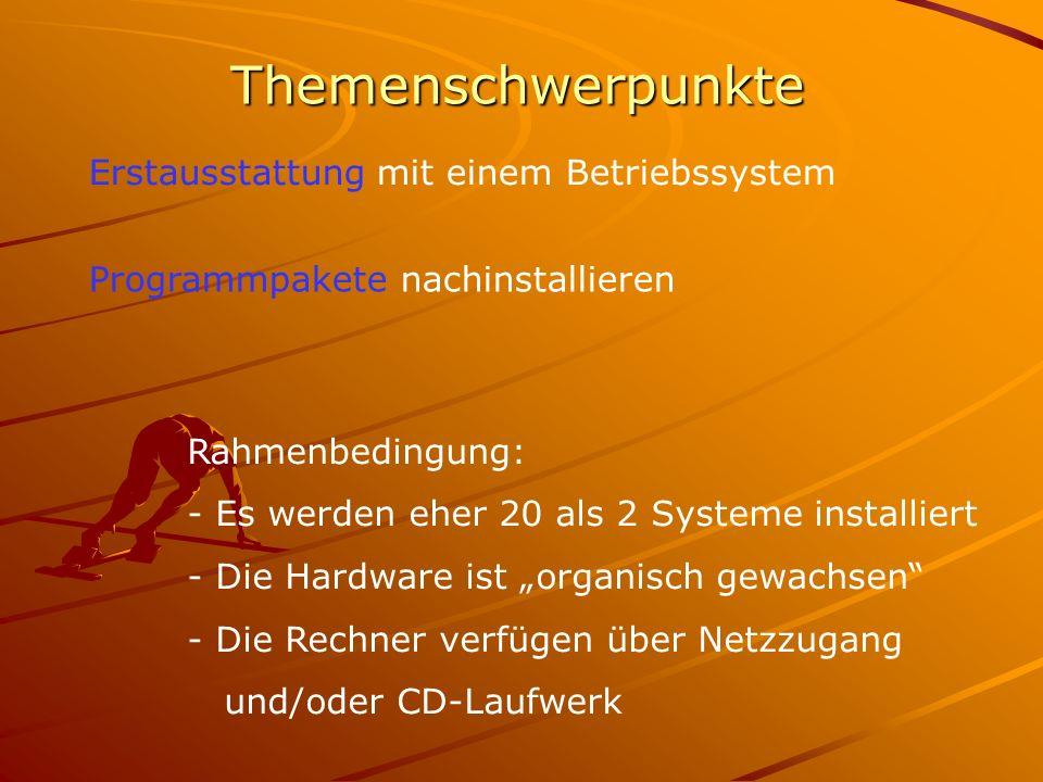 """Themenschwerpunkte Erstausstattung mit einem Betriebssystem Programmpakete nachinstallieren Rahmenbedingung: - Es werden eher 20 als 2 Systeme installiert - Die Hardware ist """"organisch gewachsen - Die Rechner verfügen über Netzzugang und/oder CD-Laufwerk"""