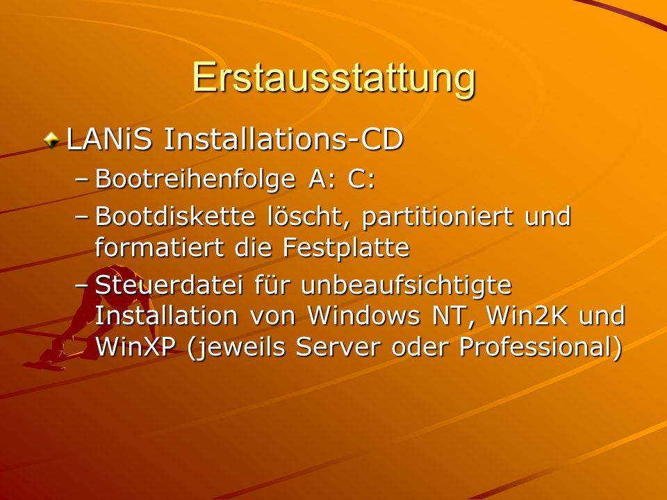 Erstausstattung LANiS Installations-CD –Bootreihenfolge A: C: –Bootdiskette löscht, partitioniert und formatiert die Festplatte –Steuerdatei für unbeaufsichtigte Installation von Windows NT, Win2K und WinXP (jeweils Server oder Professional)
