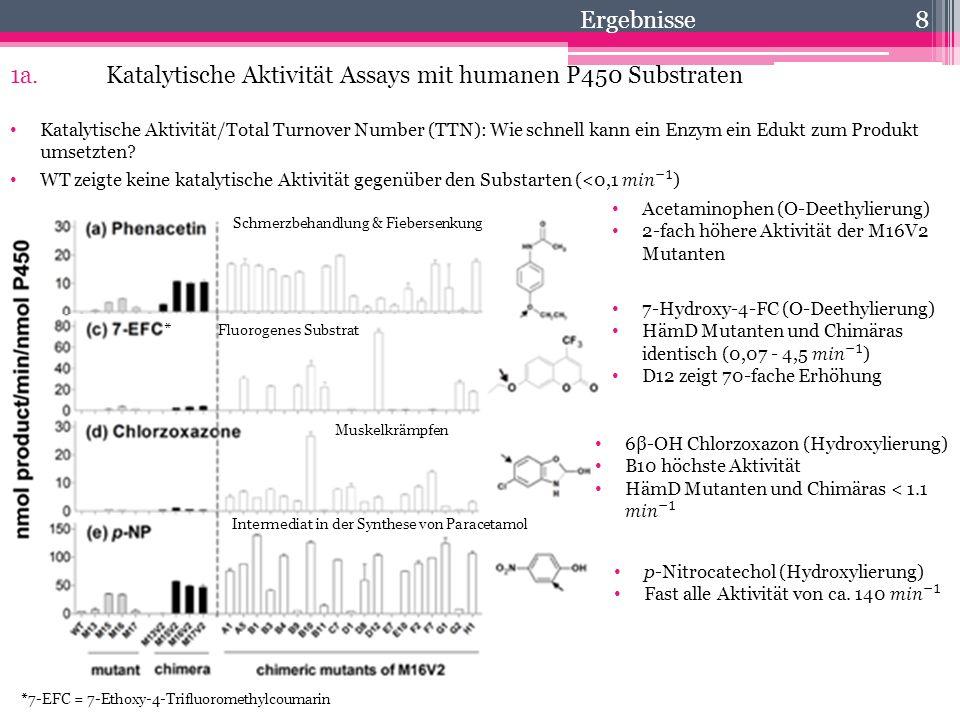 8 Ergebnisse Acetaminophen (O-Deethylierung) 2-fach höhere Aktivität der M16V2 Mutanten Schmerzbehandlung & Fiebersenkung Fluorogenes Substrat Muskelk