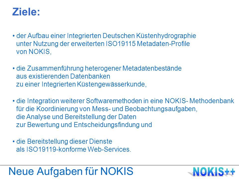 Nutzung von NOKIS Weitere Verwendungen in der WSV UVU-Datenbanken mit Metadaten IKZM-Projekte des BMBF Coastal Futures IKZM Odermündung RETRO