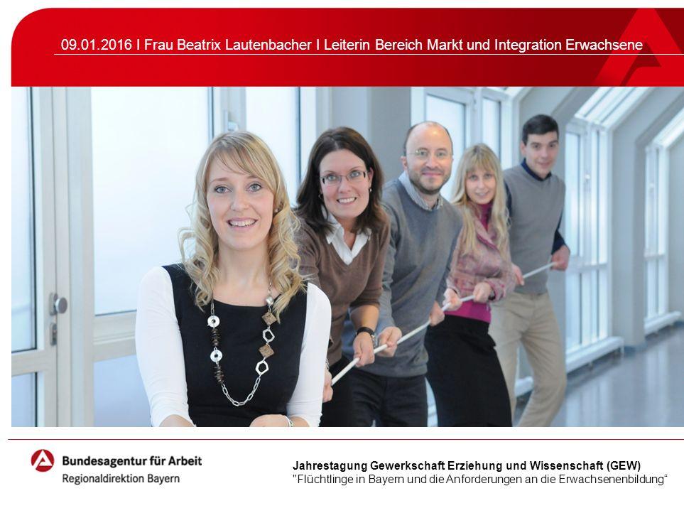 Seite 2 Handlungsschwerpunkte der Regionaldirektion Bayern für den Arbeitsmarkt im Jahr 2016 Inländisches und ausländisches Fachkräftepotenzial aktivieren Langzeitarbeitslosigkeit bekämpfen Junge Menschen an den Übergängen unterstützen Inklusion voranbringen Menschen mit Fluchthintergrund integrieren
