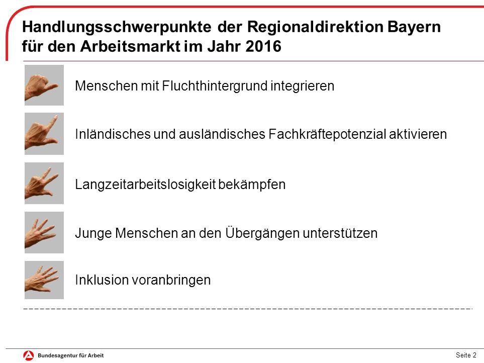 Seite 13 Anforderungen an die Erwachsenenbildung aus Sicht der Regionaldirektion Bayern ▬ Aufbau ausreichender Sprachkenntnisse (allgemein und berufsbezogen) ▬ im Anschluss an Sprachkurse (wenn möglich nahtlos) weitergehende Qualifizierungen  Arbeitsmarktprogramm Flucht der Regionaldirektion Bayern (inkl.