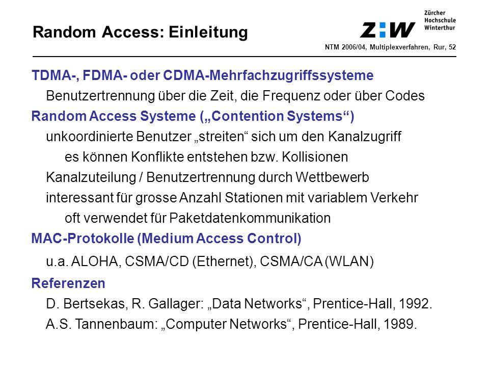 """Random Access: Einleitung TDMA-, FDMA- oder CDMA-Mehrfachzugriffssysteme Benutzertrennung über die Zeit, die Frequenz oder über Codes Random Access Systeme (""""Contention Systems ) unkoordinierte Benutzer """"streiten sich um den Kanalzugriff es können Konflikte entstehen bzw."""