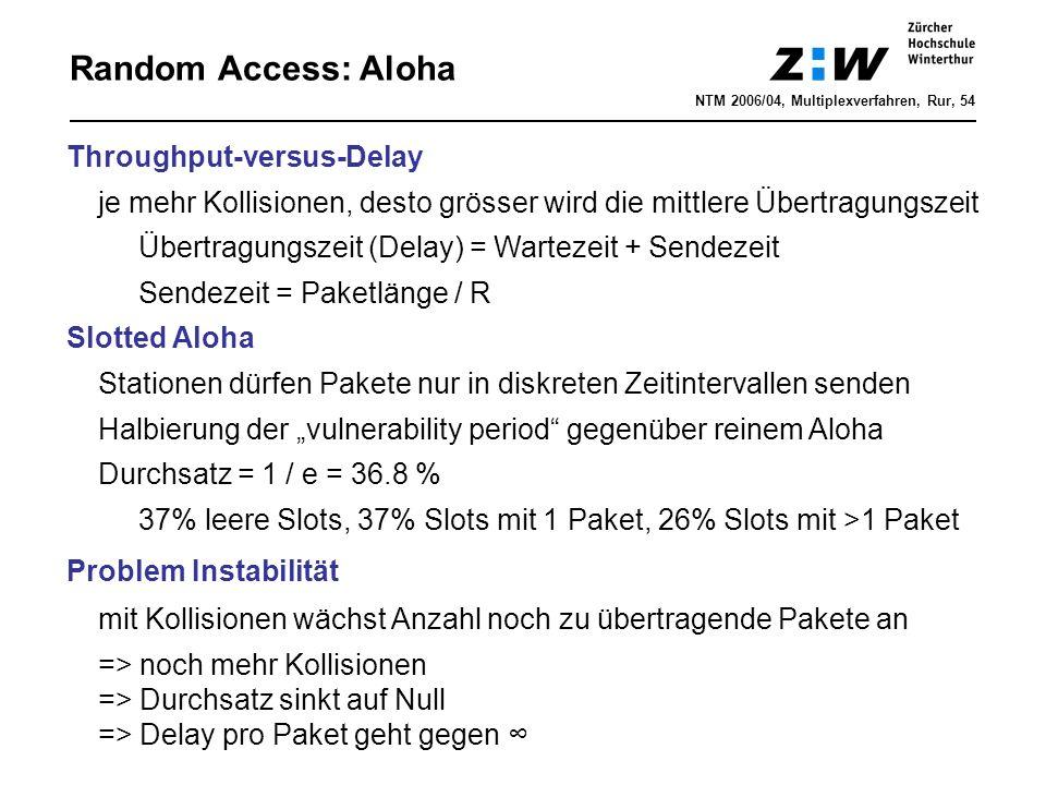 """Random Access: Aloha Throughput-versus-Delay je mehr Kollisionen, desto grösser wird die mittlere Übertragungszeit Übertragungszeit (Delay) = Wartezeit + Sendezeit Sendezeit = Paketlänge / R Slotted Aloha Stationen dürfen Pakete nur in diskreten Zeitintervallen senden Halbierung der """"vulnerability period gegenüber reinem Aloha Durchsatz = 1 / e = 36.8 % 37% leere Slots, 37% Slots mit 1 Paket, 26% Slots mit >1 Paket Problem Instabilität mit Kollisionen wächst Anzahl noch zu übertragende Pakete an => noch mehr Kollisionen => Durchsatz sinkt auf Null => Delay pro Paket geht gegen ∞ NTM 2006/04, Multiplexverfahren, Rur, 54"""