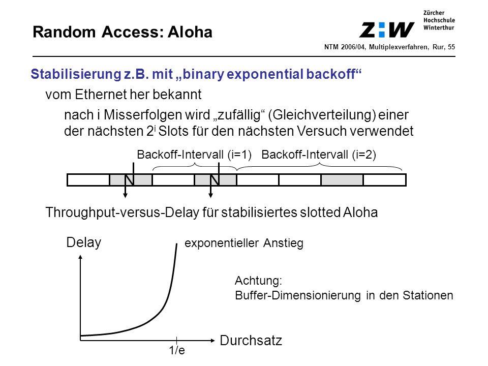 """Random Access: Aloha Stabilisierung z.B. mit """"binary exponential backoff"""" vom Ethernet her bekannt nach i Misserfolgen wird """"zufällig"""" (Gleichverteilu"""