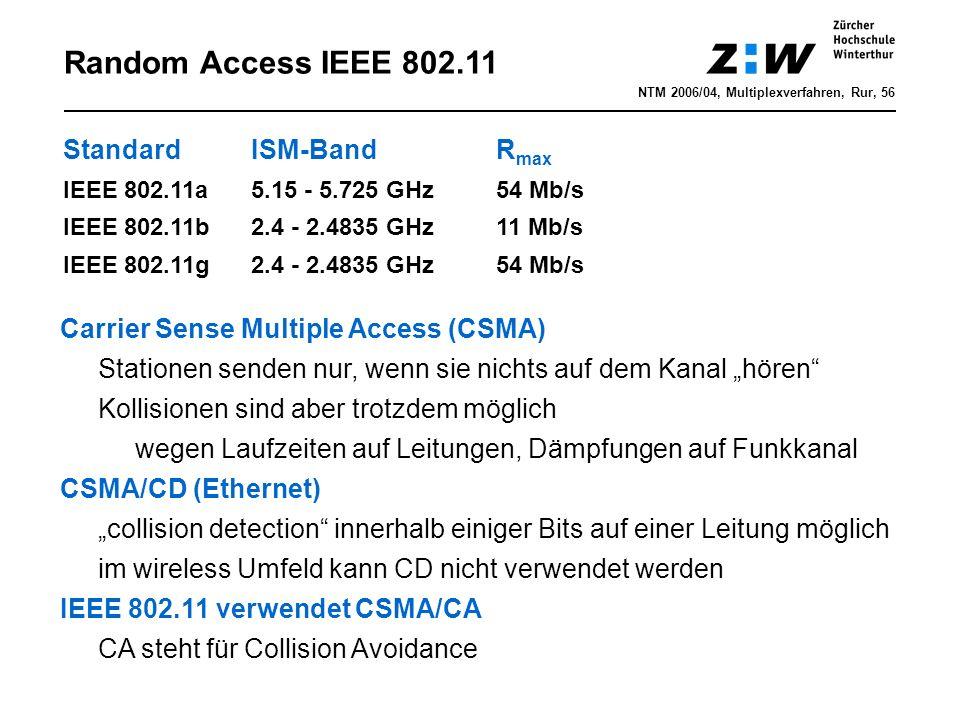 """NTM 2006/04, Multiplexverfahren, Rur, 56 Random Access IEEE 802.11 StandardISM-BandR max IEEE 802.11a5.15 - 5.725 GHz54 Mb/s IEEE 802.11b2.4 - 2.4835 GHz11 Mb/s IEEE 802.11g2.4 - 2.4835 GHz54 Mb/s Carrier Sense Multiple Access (CSMA) Stationen senden nur, wenn sie nichts auf dem Kanal """"hören Kollisionen sind aber trotzdem möglich wegen Laufzeiten auf Leitungen, Dämpfungen auf Funkkanal CSMA/CD (Ethernet) """"collision detection innerhalb einiger Bits auf einer Leitung möglich im wireless Umfeld kann CD nicht verwendet werden IEEE 802.11 verwendet CSMA/CA CA steht für Collision Avoidance"""