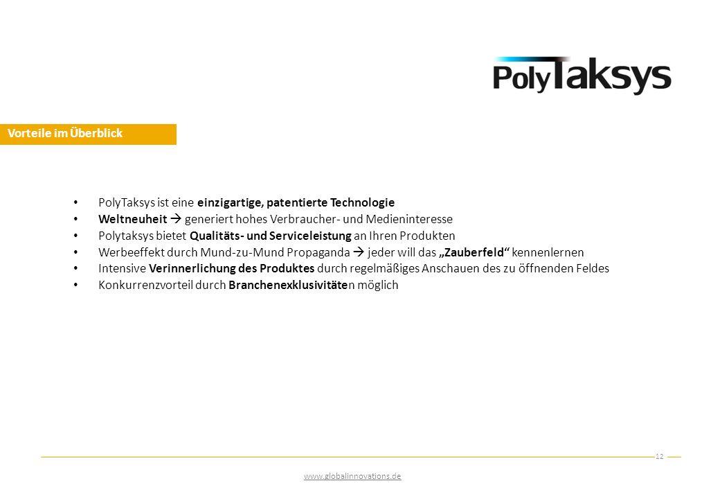 Vorteile im Überblick 12 www.globalinnovations.de PolyTaksys ist eine einzigartige, patentierte Technologie Weltneuheit  generiert hohes Verbraucher-
