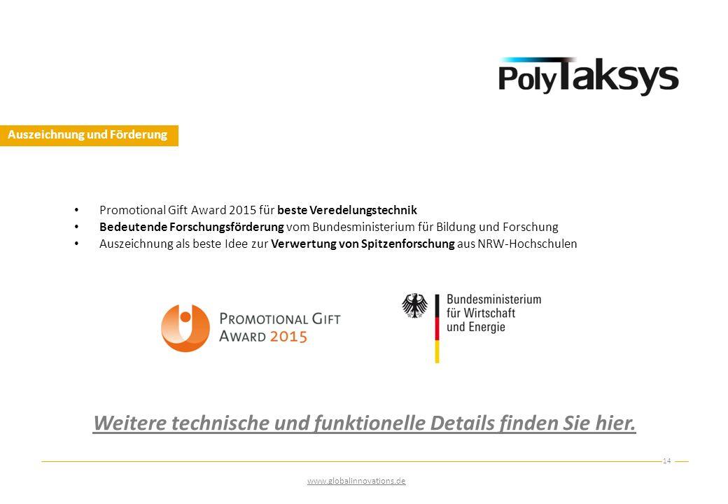 Auszeichnung und Förderung 14 www.globalinnovations.de Promotional Gift Award 2015 für beste Veredelungstechnik Bedeutende Forschungsförderung vom Bun
