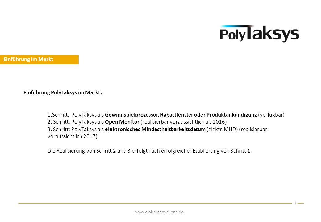 Einführung im Markt 3 Einführung PolyTaksys im Markt: 1.Schritt: PolyTaksys als Gewinnspielprozessor, Rabattfenster oder Produktankündigung (verfügbar