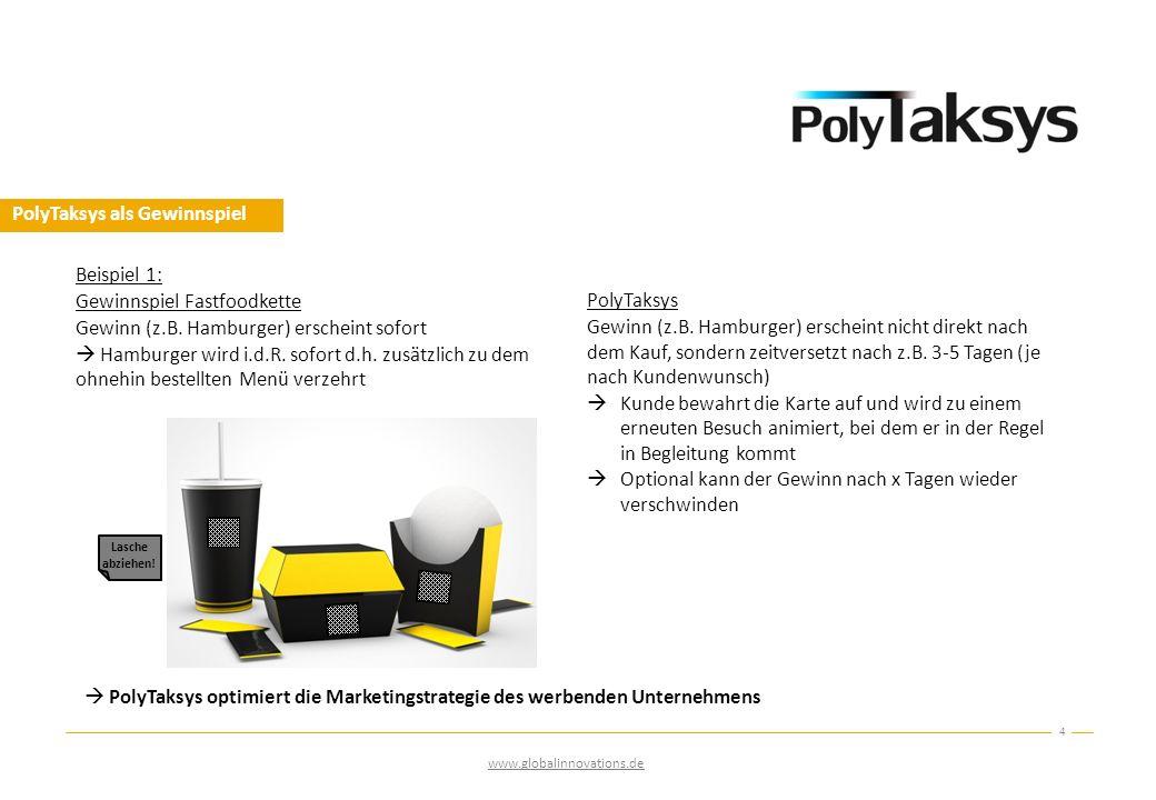 PolyTaksys als Gewinnspiel  PolyTaksys optimiert die Marketingstrategie des werbenden Unternehmens 4 Lasche abziehen! www.globalinnovations.de Beispi