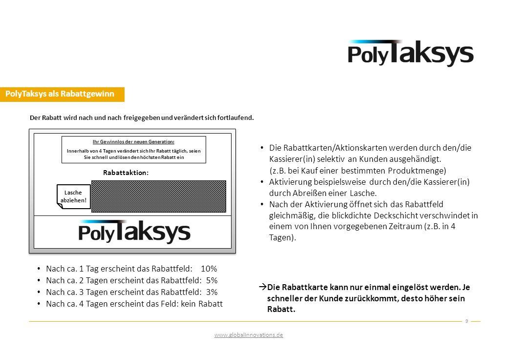 PolyTaksys als Rabattgewinn 9 Der Rabatt wird nach und nach freigegeben und verändert sich fortlaufend. Die Rabattkarten/Aktionskarten werden durch de