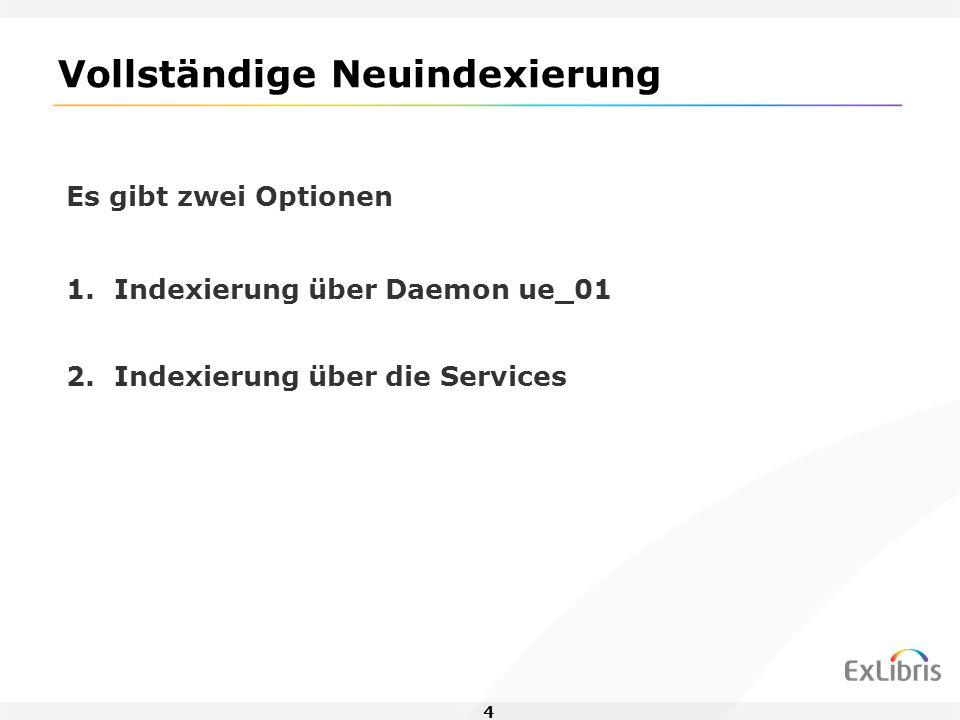 4 Vollständige Neuindexierung Es gibt zwei Optionen 1.Indexierung über Daemon ue_01 2.Indexierung über die Services