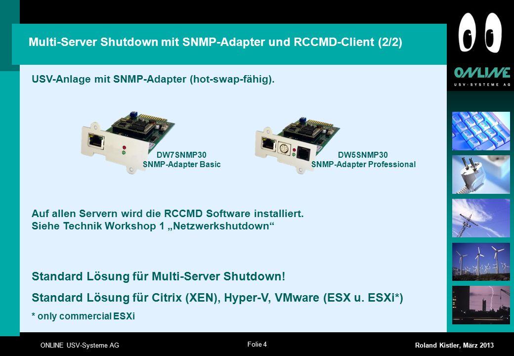 Folie 4 ONLINE USV-Systeme AG Roland Kistler, März 2013 USV-Anlage mit SNMP-Adapter (hot-swap-fähig).