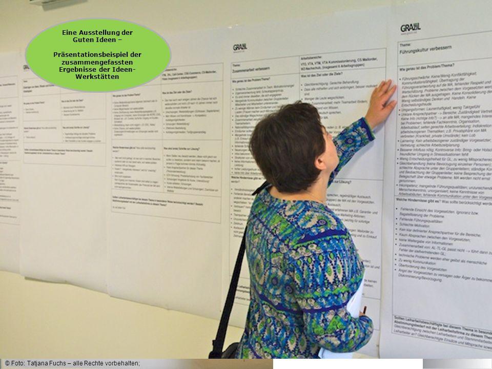 © Foto: Tatjana Fuchs – alle Rechte vorbehalten; Eine Ausstellung der Guten Ideen – Präsentationsbeispiel der zusammengefassten Ergebnisse der Ideen- Werkstätten
