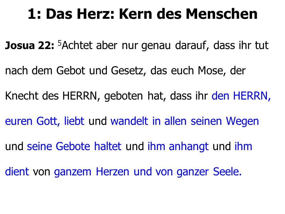 1: Das Herz: Kern des Menschen Josua 22: 5 Achtet aber nur genau darauf, dass ihr tut nach dem Gebot und Gesetz, das euch Mose, der Knecht des HERRN,