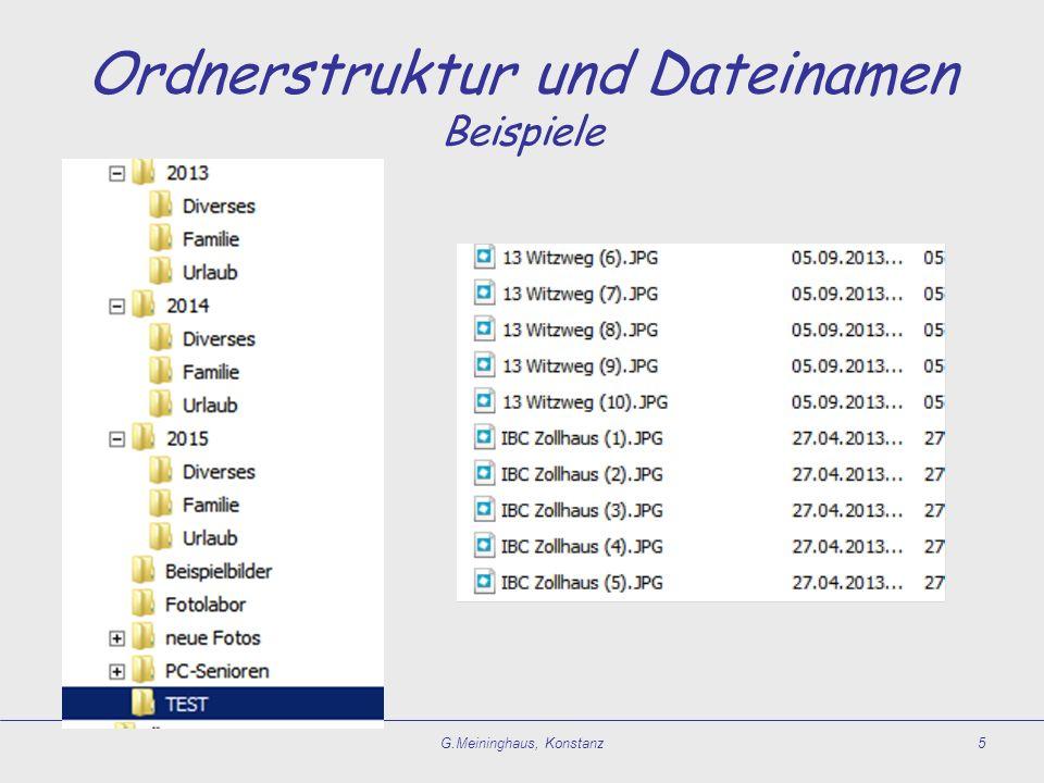 Wiederfinden Voraussetzungen  Ordnerstruktur und Dateinamen.