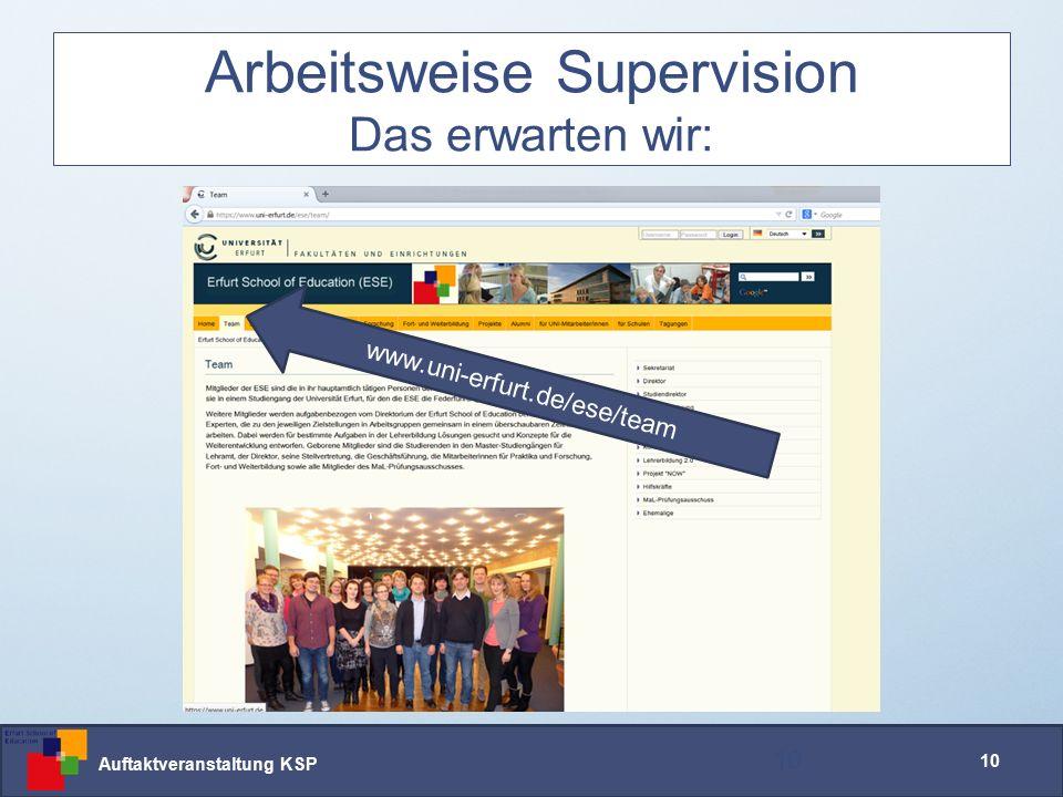 Auftaktveranstaltung KSP 10 Arbeitsweise Supervision Das erwarten wir: 10 www.uni-erfurt.de/ese/team