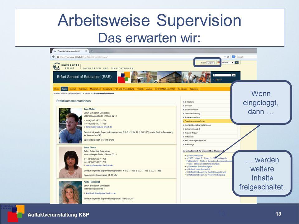 Auftaktveranstaltung KSP 13 Arbeitsweise Supervision Das erwarten wir: 13 Wenn eingeloggt, dann … … werden weitere Inhalte freigeschaltet.