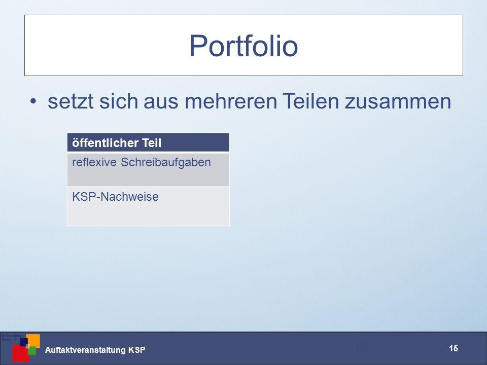 Auftaktveranstaltung KSP 15 Portfolio setzt sich aus mehreren Teilen zusammen 15 öffentlicher Teil reflexive Schreibaufgaben KSP-Nachweise