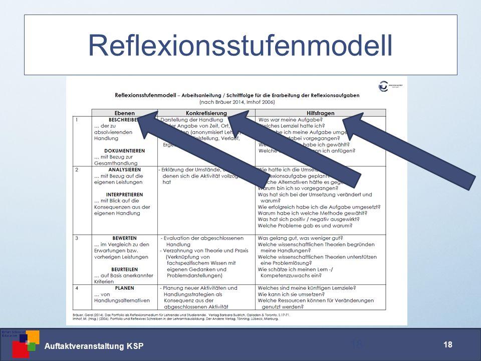 Auftaktveranstaltung KSP 18 Reflexionsstufenmodell 18