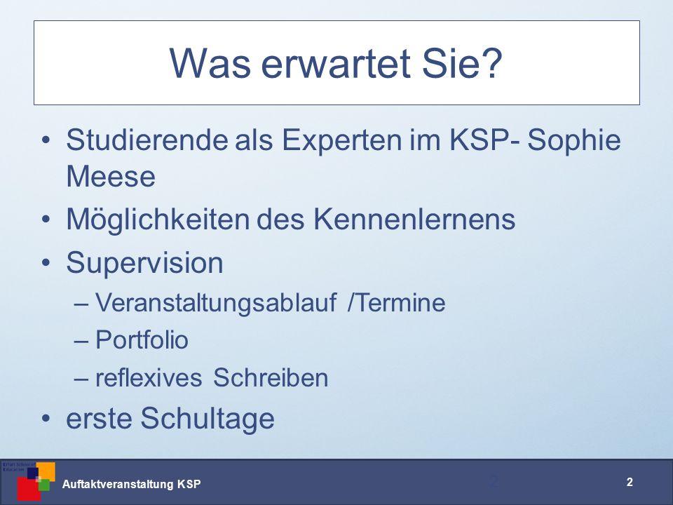 Auftaktveranstaltung KSP 2 Was erwartet Sie.