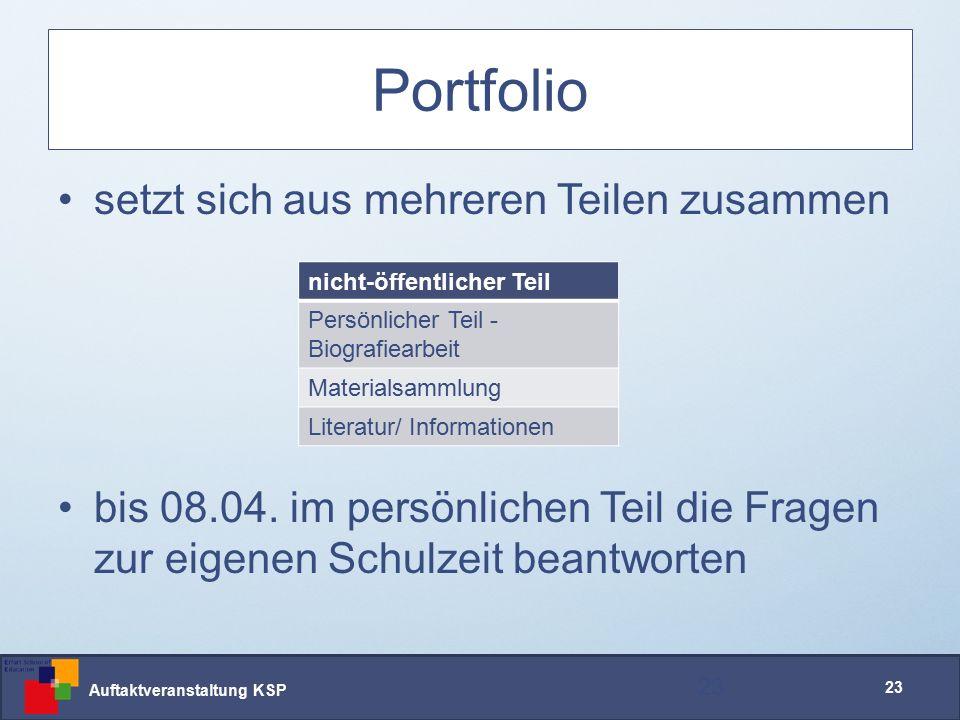 Auftaktveranstaltung KSP 23 Portfolio setzt sich aus mehreren Teilen zusammen bis 08.04.
