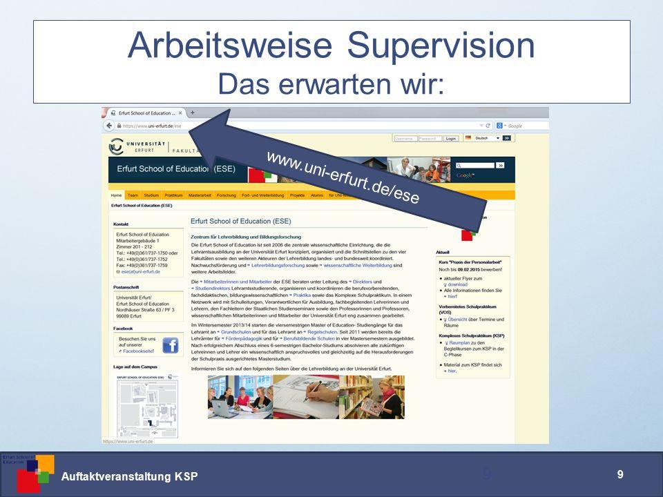Auftaktveranstaltung KSP 9 Arbeitsweise Supervision Das erwarten wir: 9 www.uni-erfurt.de/ese