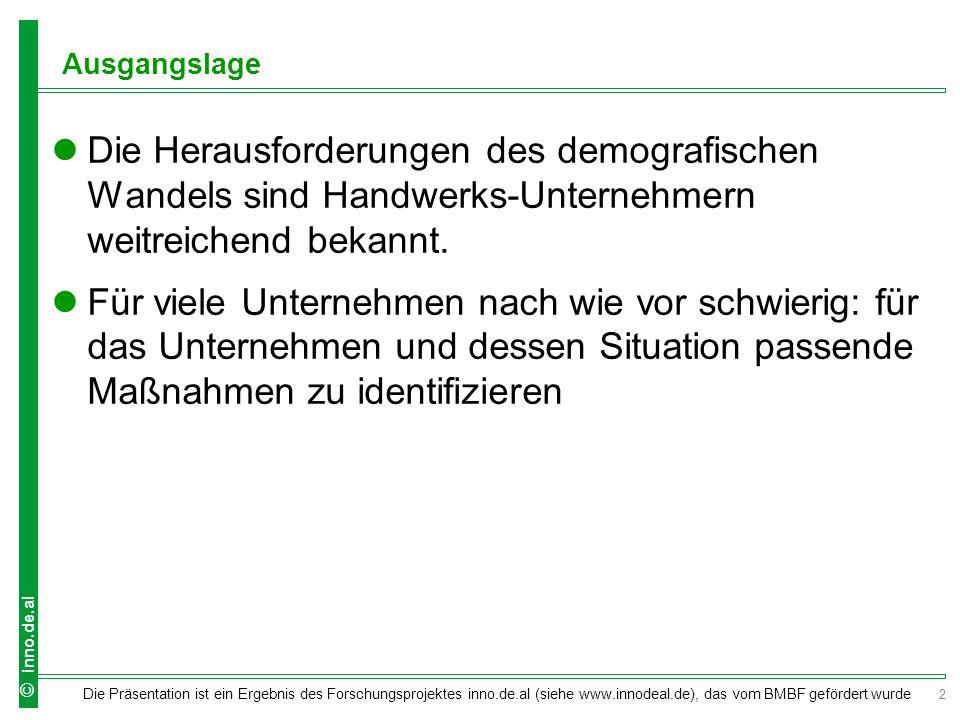 2 Die Präsentation ist ein Ergebnis des Forschungsprojektes inno.de.al (siehe www.innodeal.de), das vom BMBF gefördert wurde © inno.de.al Ausgangslage