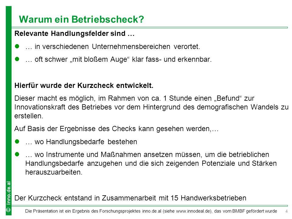 5 Die Präsentation ist ein Ergebnis des Forschungsprojektes inno.de.al (siehe www.innodeal.de), das vom BMBF gefördert wurde © inno.de.al Der inno.fit-Kurzcheck Teilnehmer: Unternehmer/in, Berater/in des Handwerks Dauer: ca.