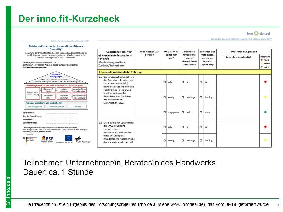 5 Die Präsentation ist ein Ergebnis des Forschungsprojektes inno.de.al (siehe www.innodeal.de), das vom BMBF gefördert wurde © inno.de.al Der inno.fit