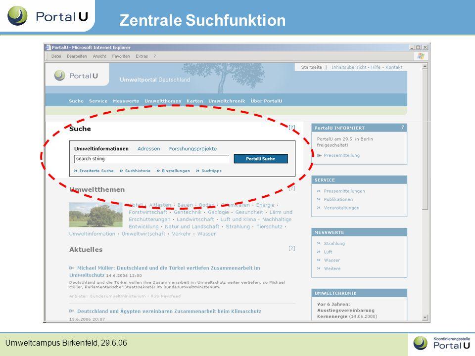 Umweltcampus Birkenfeld, 29.6.06 Zentrale Suchfunktion