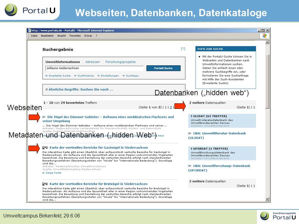 "Umweltcampus Birkenfeld, 29.6.06 Webseiten, Datenbanken, Datenkataloge Webseiten Metadaten und Datenbanken (""hidden Web"") Datenbanken (""hidden web"")"