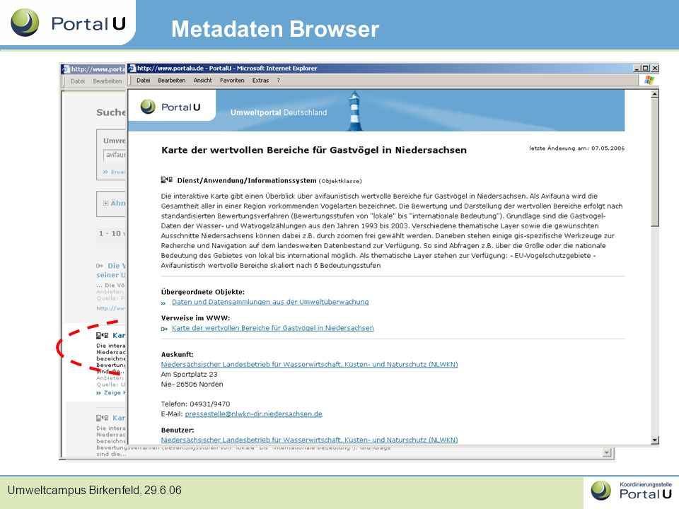 Umweltcampus Birkenfeld, 29.6.06 Metadaten Browser