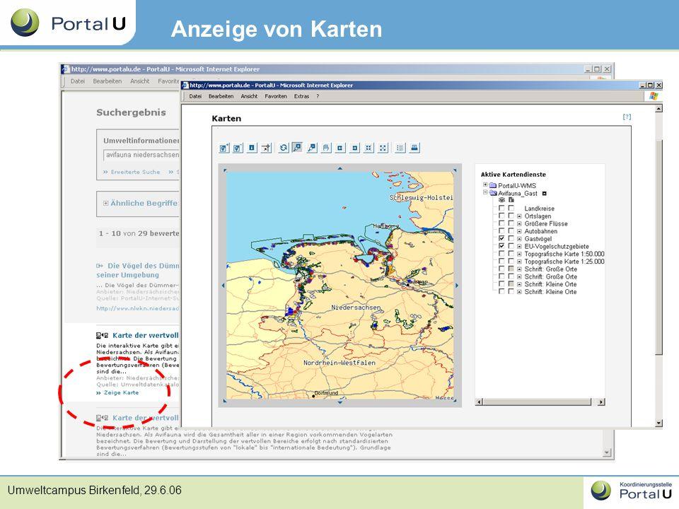 Umweltcampus Birkenfeld, 29.6.06 Anzeige von Karten
