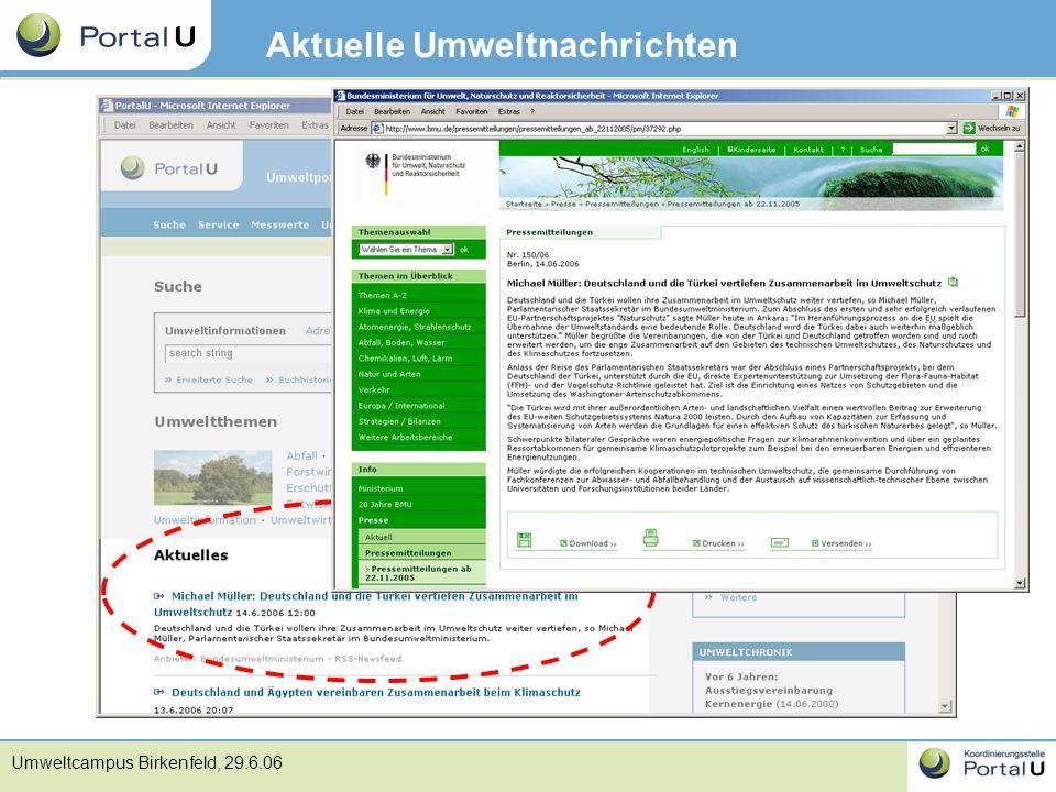 Umweltcampus Birkenfeld, 29.6.06 Aktuelle Umweltnachrichten