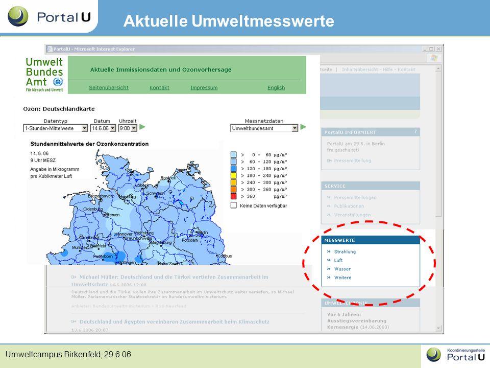 Umweltcampus Birkenfeld, 29.6.06 Aktuelle Umweltmesswerte