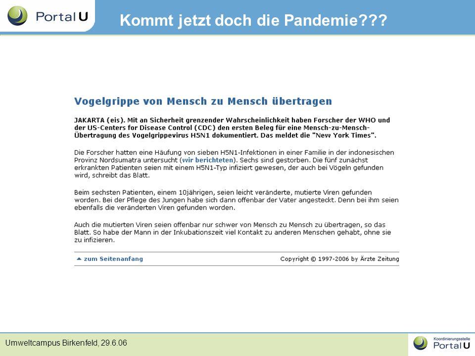 Umweltcampus Birkenfeld, 29.6.06 Kommt jetzt doch die Pandemie???