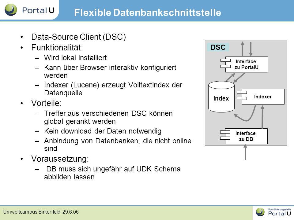 Umweltcampus Birkenfeld, 29.6.06 Flexible Datenbankschnittstelle Data-Source Client (DSC) Funktionalität: –Wird lokal installiert –Kann über Browser i