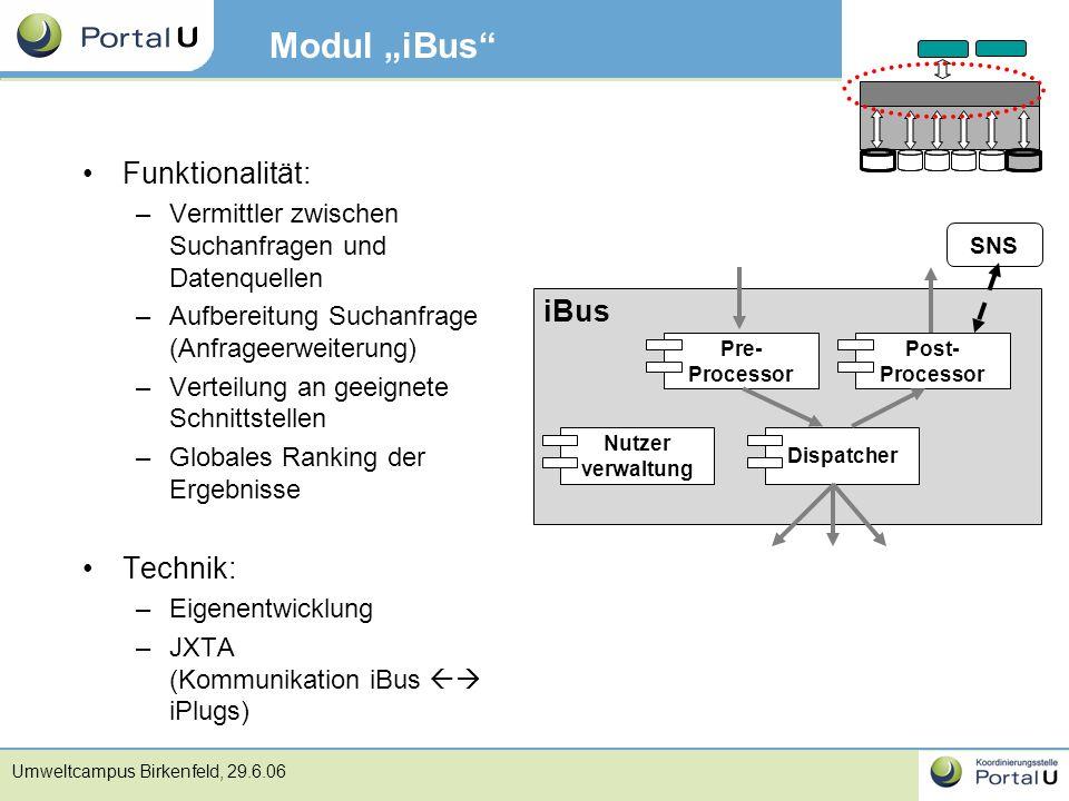 """Umweltcampus Birkenfeld, 29.6.06 Modul """"iBus"""" Funktionalität: –Vermittler zwischen Suchanfragen und Datenquellen –Aufbereitung Suchanfrage (Anfrageerw"""