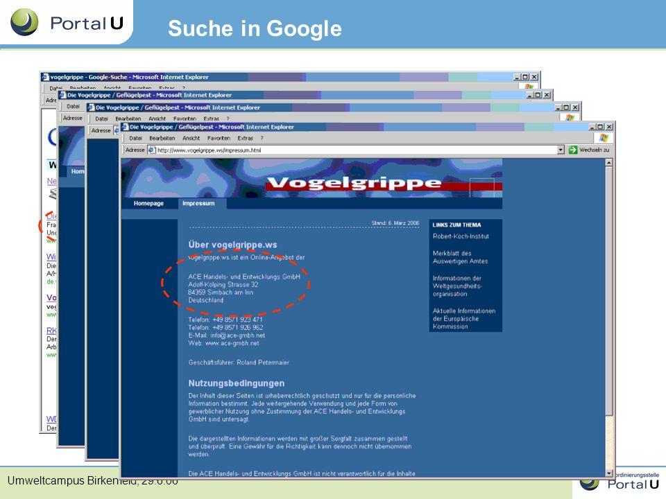 Umweltcampus Birkenfeld, 29.6.06 Suche in Google