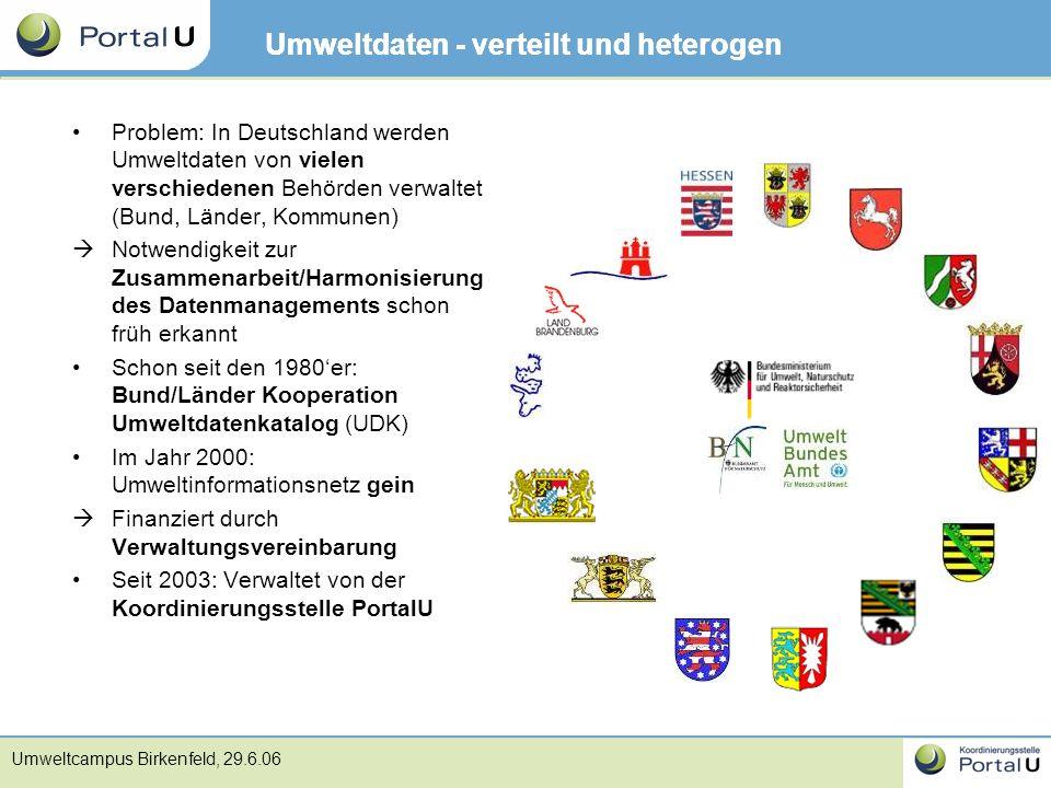 Umweltcampus Birkenfeld, 29.6.06 Umweltdaten - verteilt und heterogen Problem: In Deutschland werden Umweltdaten von vielen verschiedenen Behörden ver