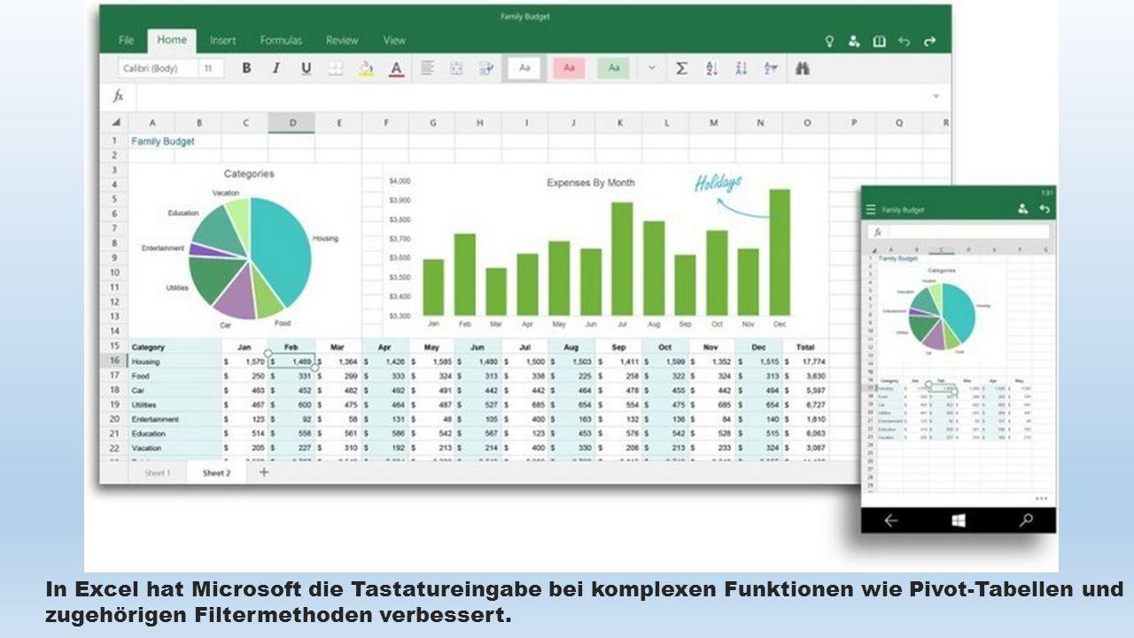 In Excel hat Microsoft die Tastatureingabe bei komplexen Funktionen wie Pivot-Tabellen und zugehörigen Filtermethoden verbessert.