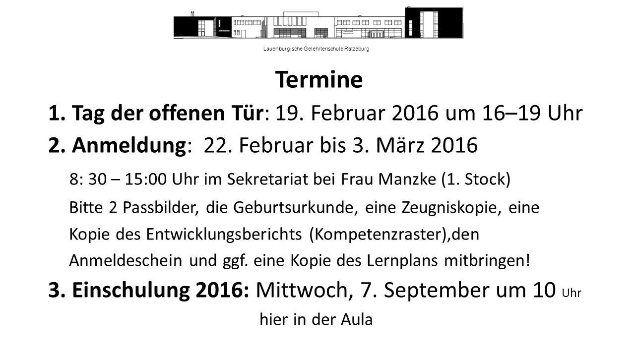 Lauenburgische Gelehrtenschule Ratzeburg Termine 1.
