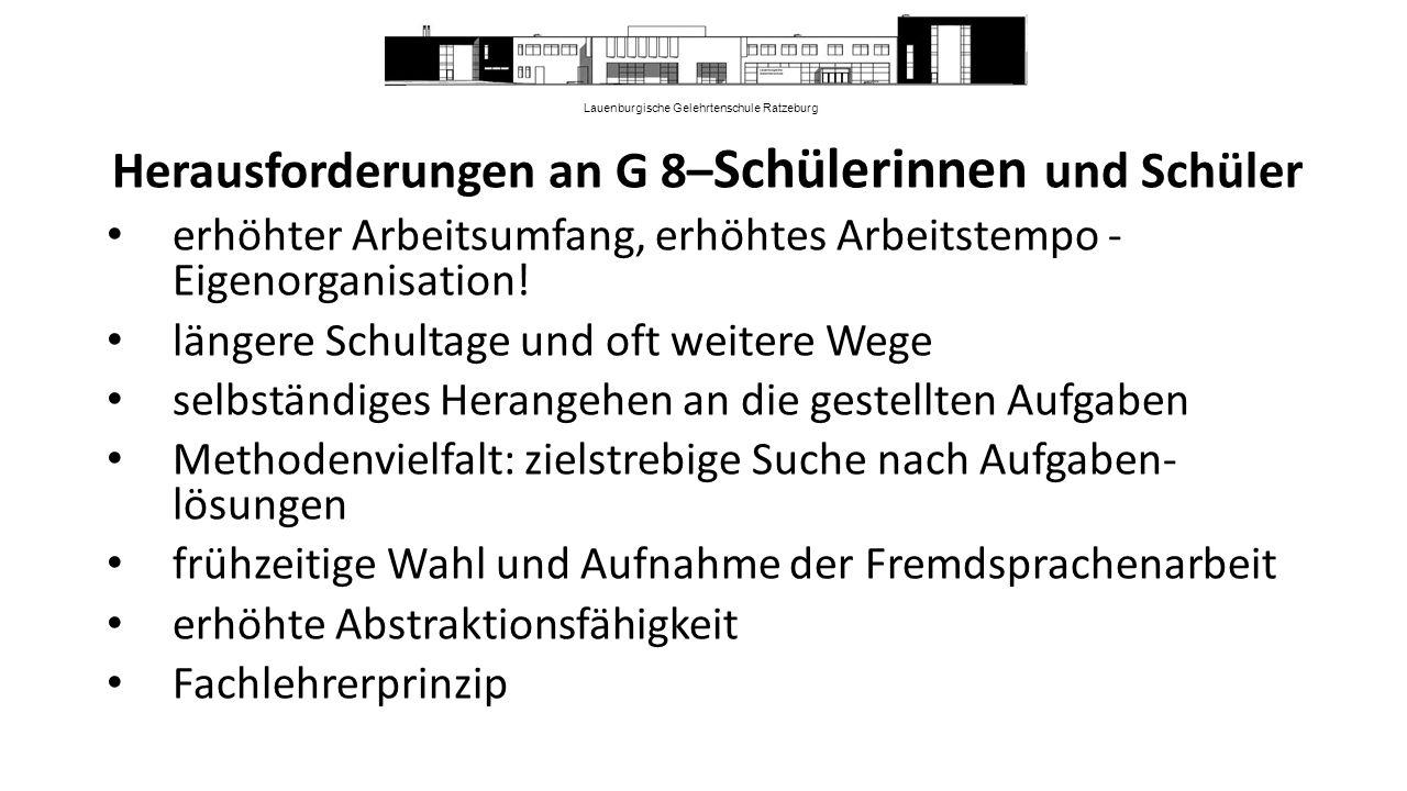 Lauenburgische Gelehrtenschule Ratzeburg Herausforderungen an G 8– Schülerinnen und Schüler erhöhter Arbeitsumfang, erhöhtes Arbeitstempo - Eigenorganisation.