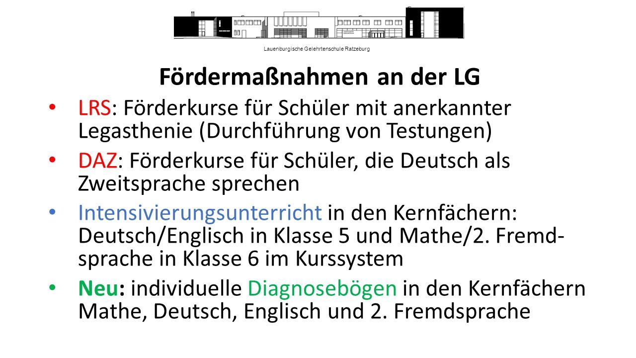 Lauenburgische Gelehrtenschule Ratzeburg Fördermaßnahmen an der LG LRS: Förderkurse für Schüler mit anerkannter Legasthenie (Durchführung von Testungen) DAZ: Förderkurse für Schüler, die Deutsch als Zweitsprache sprechen Intensivierungsunterricht in den Kernfächern: Deutsch/Englisch in Klasse 5 und Mathe/2.