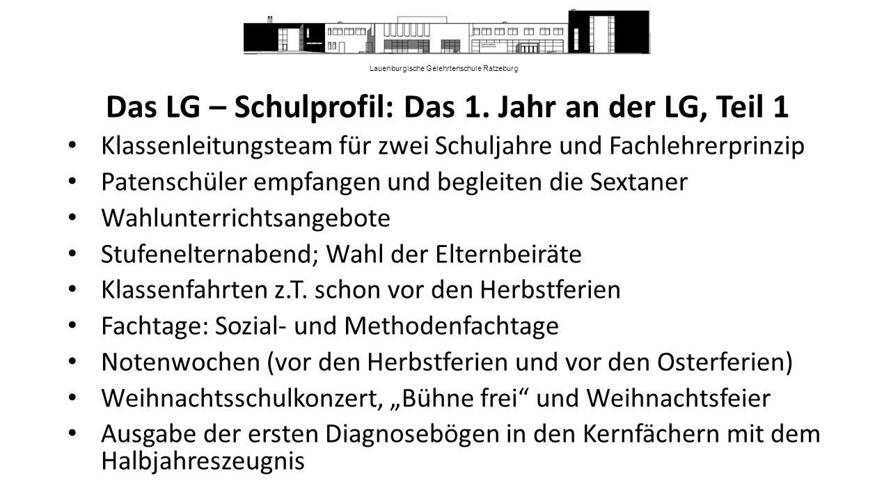 Lauenburgische Gelehrtenschule Ratzeburg Das LG – Schulprofil: Das 1.