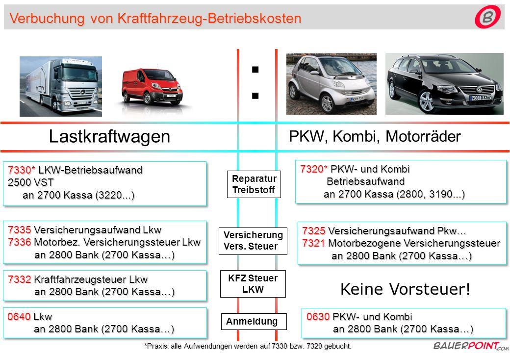 Verbuchung von Kraftfahrzeug-Betriebskosten Lastkraftwagen PKW, Kombi, Motorräder Reparatur Treibstoff Versicherung Vers.
